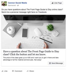 Facebook Messenger click-to-message ad examples