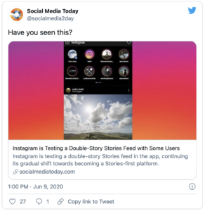 Instagram is Testing a Double-Story Stories Feed with Some Users